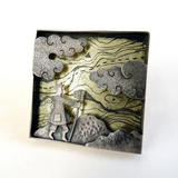 Trekking brooch/wall piece - silver and 18ct lemon gold leaf