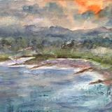 Sunset Over The River Dee - Watercolor / Mixed Media