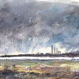 View Of Mostyn Docks From Prestatyn - Watercolor / Mixed Media