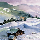 La Plagne, Fench Alps - watercolour