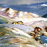 La Plagne, French Alps - Watercolour