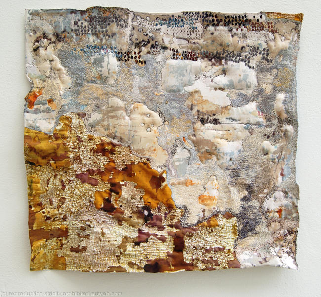 Blown Screen Printed and stitched textile 62x65cm