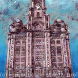 the royal liver building liverpool - monoprint and mixed media
