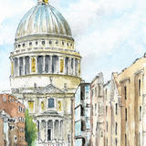St Pauls Cathedral South Facade - Original Watercolour