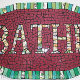 BATHE mosaic - mosaic tiles and vintage crockery on wood