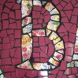 Letter B, close-up detail from my BATHE mosaic - vintage crockery and tile mosaic