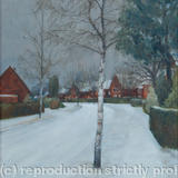 Fearnley Road under snow - Oil on canvas board