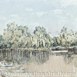Stanborough Lakes towards evening - Pen and watercolour
