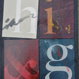 Distressed typeforms with 'a' ghost - Oil with matte