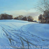 Snow at Stanborough Park - Oil on canvas board