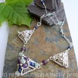 Pyramid Necklace - Amethyst, Aventurine and Lapis with Sterling Silver