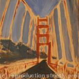 Golden Gate - oil on wood