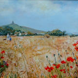 Cornfield Glastonbury - Oil on board