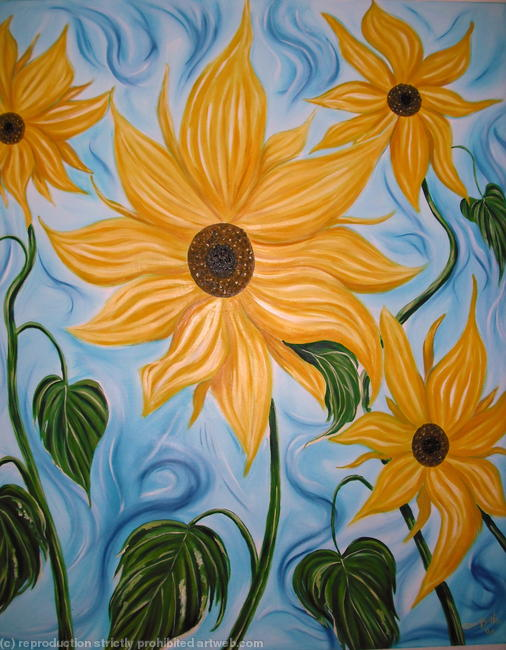 Sunflowers oil on canvas width=