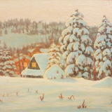big snow fall poland - oil on canvas