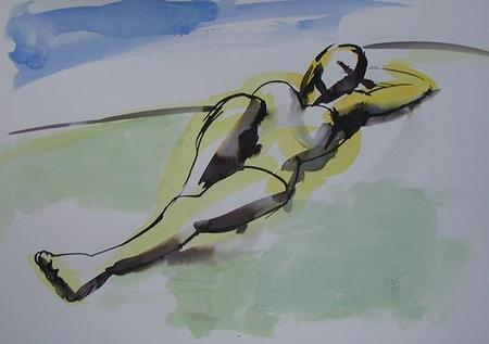 By the River 2 life - drawing outdoor female nude sketch