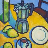 coffee pot lemons - oil on canvas