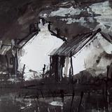 croft houses - indian ink, acrylic
