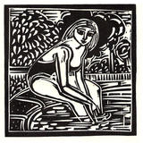 By The Pool - Lino Print