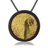 (RPP) Peacock pendant - Oxidised silver with 22ct gold inlay