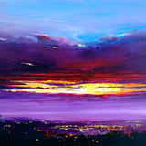 Dawn Crack, City Sunrise - Acrylic on Box Canvas