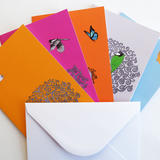 Set of five illustrated greeting cards -