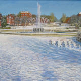 Welwyn Garden City Fountain-Snow - Oil