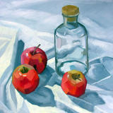 Bottle and Apples - Oil on Board