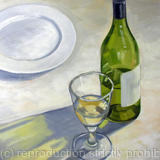 The plate may be empty but the glass is half full - Oil on Board