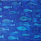 blue fish - wax on canvas