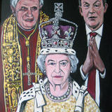 THE POPE THE QUEEN AND THE POLITICIAN - Acrylic on board