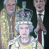 The Pope, the Queen, the politician - acrylic