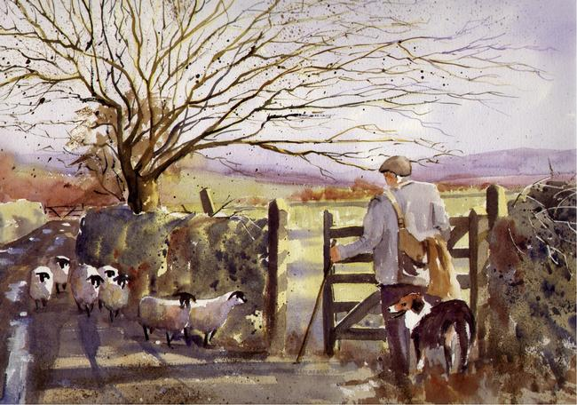 By the gate watercolour on Arches 66x51cm