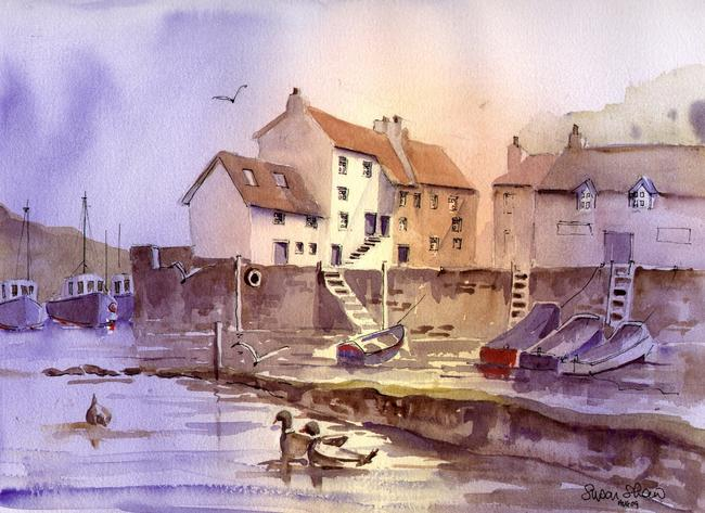 Polperro Light watercolour on Arches 51x41cm