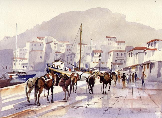 HYDRA MULES watercolour on Arches Aquarelle 51x41cm