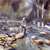 A QUIET SPOT ON THE RIBBLE - watercolour