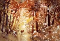 A Doe in Autumn woodland