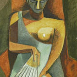 Fan Woman after Picasso - Acrylic on watercolour paper