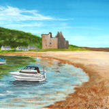 Boats by Lochranza Castle, Arran - Acrylic on paper, Mounted
