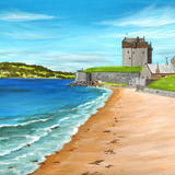 Broughty Ferry Castle from the Beach - Acrylic on paper, mounted