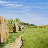 Avebury Ring - acrylic on board, mounted