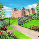 Brodick Castle, Arran, from the gardens - Acrylic on paper