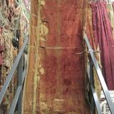 C1905 Worn Rust Velvet with Antique Applique -