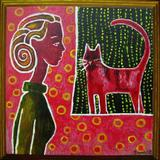Red cat - acrylic on deep boxed canvas