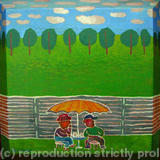 Two men under umbrella. Garden drink. - Acrylic on canvas