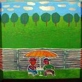 Two men under umbrella - Acrylic on canvas