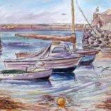 Alderney Harbour - Pen & Wash