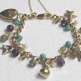 Ooh La La - 9ct gold belcher bracelet with 9ct charms and semi precious stones