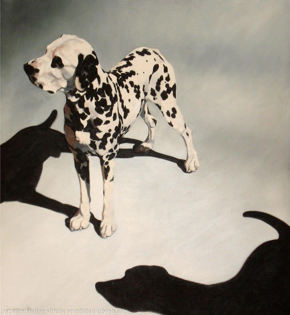2 Dalmations Oil on Canvas 80x85cm