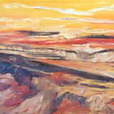 Sunset over the estuary - oil on box canvas